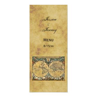 Cartes affligées antiques du menu #3 de carte du carton d'invitation  10,16 cm x 23,49 cm