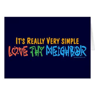 Cartes Aimez Thy voisin - coeur, signe de paix