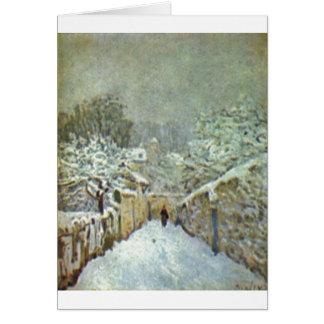 Cartes Alfred Sisley - Schnee en huile de Louveciennes