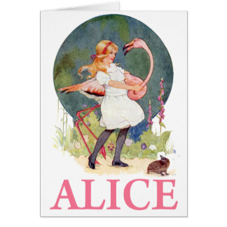 CARTES ALICE ET LE CROQUET ROSE DE JEU DE FLAMANT