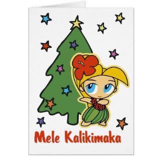 Cartes Aloha fille de danse polynésienne blonde de Noël