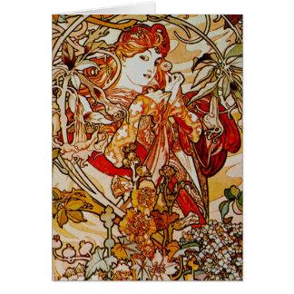 Cartes Alphonse Mucha - Madame avec une marguerite