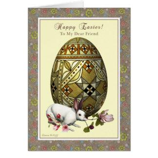 Cartes Ami Joyeuses Pâques - oeuf et lapin