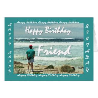 Cartes AMI - joyeux anniversaire - homme et ressacs