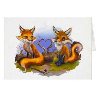 Cartes amour, animaux, renards rouges, nature