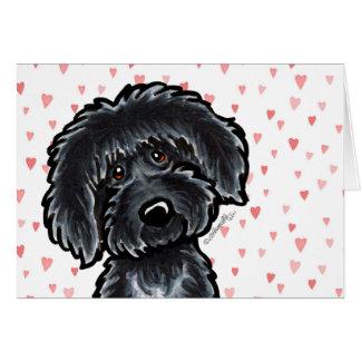 Cartes Amour de chiot noir de Labradoodle