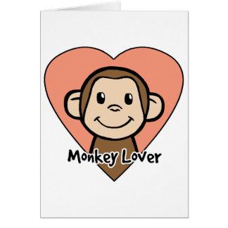 Cartes Amour mignon de singe de sourire de clipart