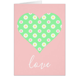 Cartes Amour rose et vert de coeur de marguerite