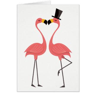 Cartes Amour rose tropical de flamant bonjour pensant à