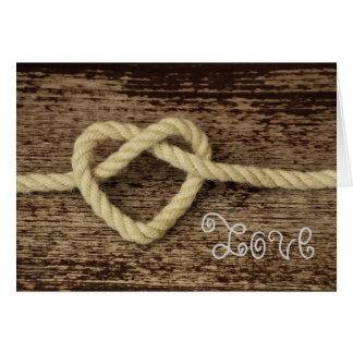Cartes Amour rustique de corde de coeur de Saint-Valentin