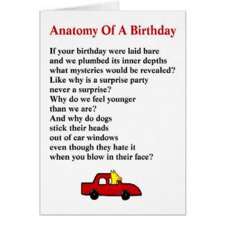 Cartes Anatomie d'un anniversaire - un poème original