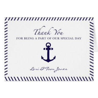 Cartes Ancre nautique de bleu de Merci de mariage