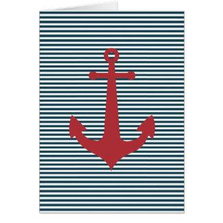 Cartes Ancre nautique rouge sur l'arrière - plan bleu