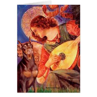 Cartes Ange de mandoline de dobermann (rouge) -
