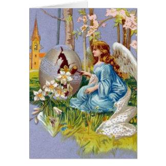 Cartes Ange ouvrant un oeuf de pâques