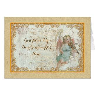Cartes Ange vintage d'art de filleule personnalisé
