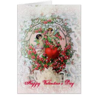 Cartes Anges victoriens et dentelle Valentine