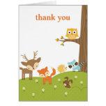 Cartes animales de Merci de région boisée mignonne