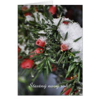 Cartes Année tchèque de neige rouge de baies nouvelle