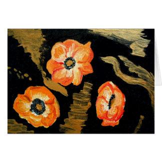 Cartes Annemones abstrait - orange
