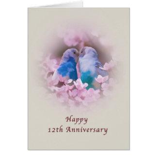 Cartes Anniversaire, 12ème, perruches affectueuses,