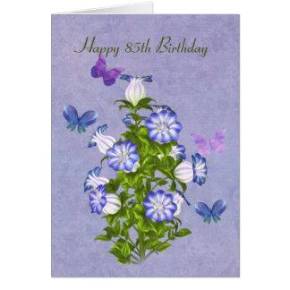 Cartes Anniversaire, 85th, papillons et fleurs de Bell