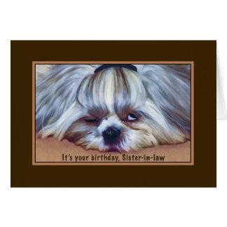 Cartes Anniversaire, belle-soeur, chien somnolent de Shih