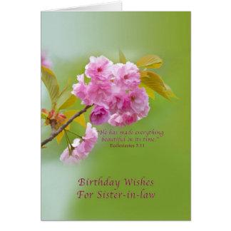 Cartes Anniversaire, belle,soeur, fleurs de cerisier