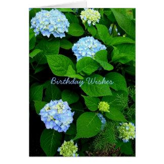 Cartes Anniversaire bleu de chrétien d'hortensia