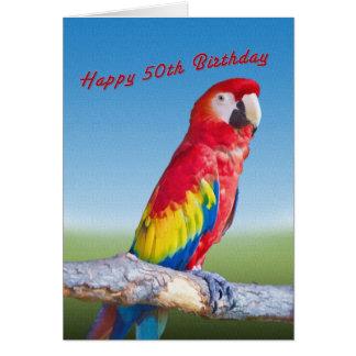 Cartes Anniversaire, cinquantième, perroquet d'ara