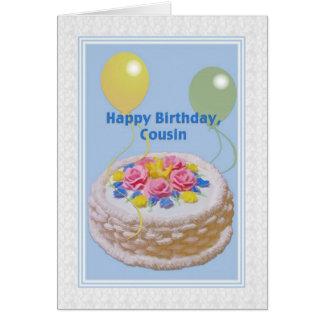 Cartes Anniversaire, cousin, gâteau et ballons