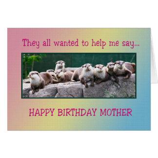 Cartes Anniversaire de mère avec des loutres