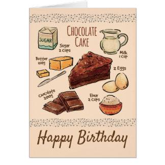Cartes Anniversaire de recette de gâteau de chocolat