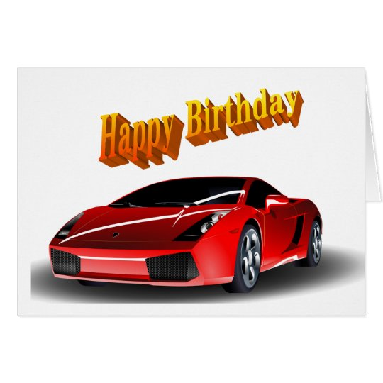 cartes anniversaire de voiture de sport joyeux. Black Bedroom Furniture Sets. Home Design Ideas