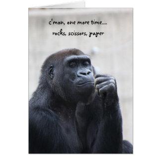 Cartes Anniversaire drôle de gorille, papier de ciseaux