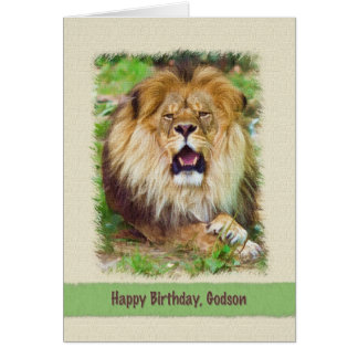 Cartes Anniversaire, filleul, lion