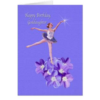 Cartes Anniversaire, filleule, ballerine et violettes