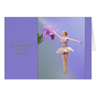 Cartes Anniversaire, filleule, ballerine, orchidée