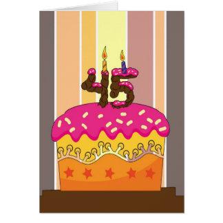 Cartes anniversaire - gâteau avec les bougies 45 -