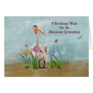 Cartes Anniversaire, grand-maman, pélican, fleurs