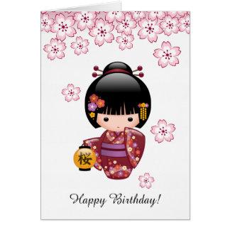 Cartes Anniversaire japonais mignon de geisha de poupée