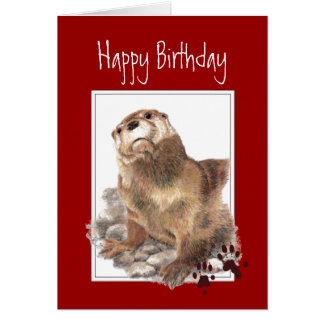 Cartes Anniversaire, loutre significative, animal drôle