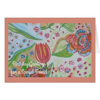 Cartes Anniversaire spécial d'ami de remous de fleur