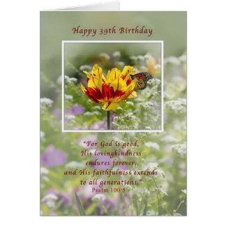 Cartes Anniversaire, trente-neuvième, tulipe et papillon,