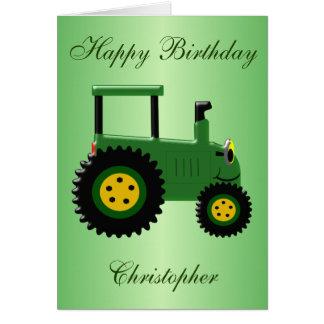Cartes Anniversaire vert personnalisé de tracteur