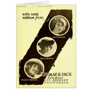 Cartes Annonce 1918 d'exposant de cinéma muet d'actrices