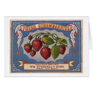 Cartes Annonce vintage pour les fraises fraîches circa