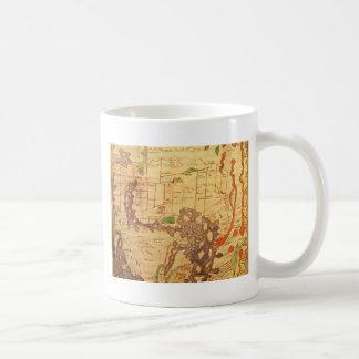 Cartes antiques du monde mug blanc