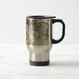 Cartes antiques du monde mug de voyage en acier inoxydable