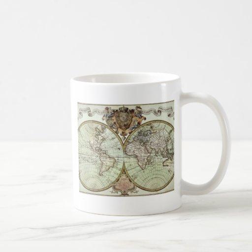 Cartes antiques du monde tasse à café